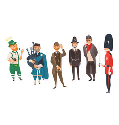 Cartoon people in uk national costumes set vector