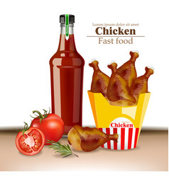 chicken wings and ketchup bottle realistic vector image