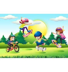 Children skateboarding and riding bike in park vector