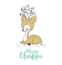 Christmas of a cute little deer merry christmas vector