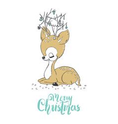 Christmas of a cute little deer merry vector