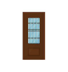 classic wooden door with glass on white background vector image