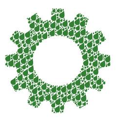 Cogwheel mosaic of plant leaf icons vector