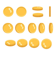 coins set sprites for rotation in vector image