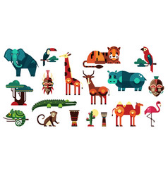 Colorful collection of different african vector