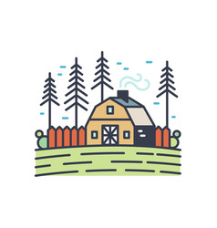 colorful picturesque countryside landscape linear vector image