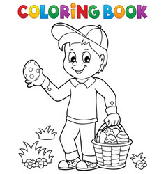 coloring book boy with easter eggs 1 vector image
