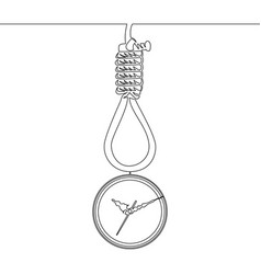 continuous line deadline concept noose and clock vector image