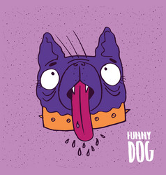 cute dog with tongue in handmade cartoon style vector image