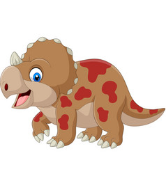 Cute triceratops cartoon on white background vector