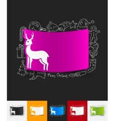 Deer paper sticker with hand drawn elements vector