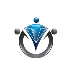 diamond worker logo template recruitment design vector image