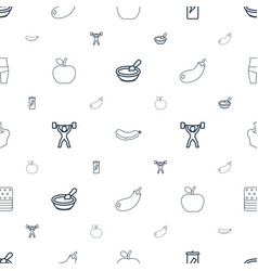 diet icons pattern seamless white background vector image