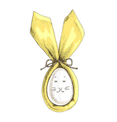 easter bunny ears with egg on white background vector image