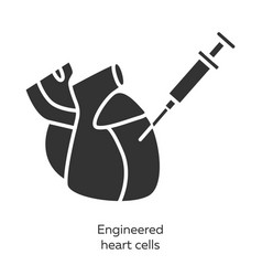 Engineered heart cells glyph icons set human vector