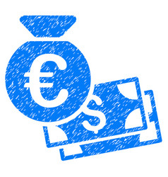euro and dollar cash grunge icon vector image