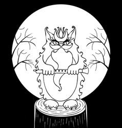 Evil cat bayun from slavic tales black and vector
