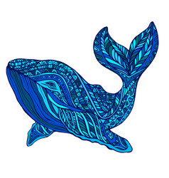 Fantasy ornament whale blue colo vector