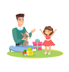 father home playing vector image