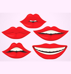 female lip pouting lips smiling cartoon cute vector image