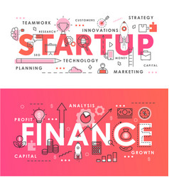 financial startup word abstract thin line vector image