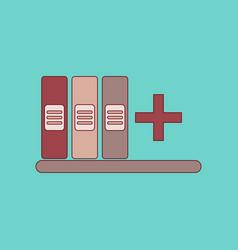 Flat icon thin lines shelf folder vector