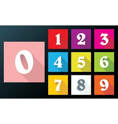 Flat numbers with long shadows for mobil app vector
