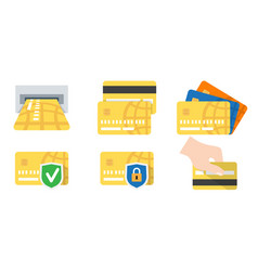 flat set credit card icons vector image
