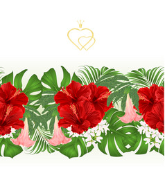 floral border seamless background bouquet vector image