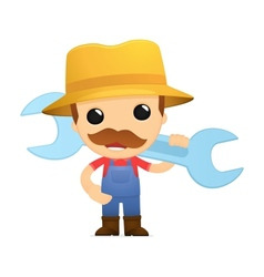 Funny cartoon farmer vector