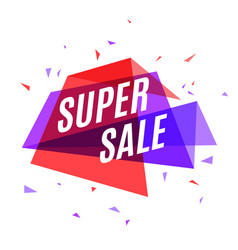 Geometrical colorful banner super sale speech vector