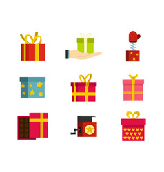 gift box icon set flat style vector image