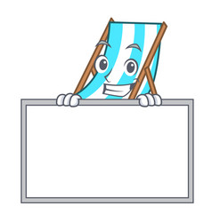 Grinning with board beach chair character cartoon vector