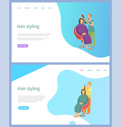 Hair styling services straightening and curling vector
