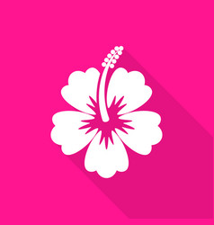Hibiscus flower flat icon long shadow vector