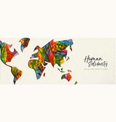 human solidarity day diverse world map hand banner vector image
