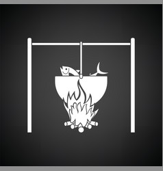 Icon of fire and fishing pot vector