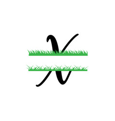 Initial x grass monogram split letter isolated vector