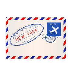 international air mail envelope from new york vector image