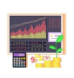 Invest in Shares Concept Icon Flat Design vector