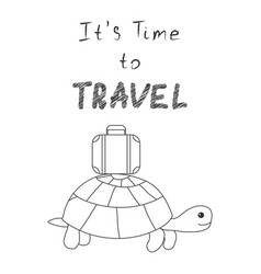 It s time to travel turtle goes on a trip with a vector