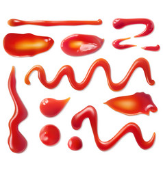 Ketchup stains tomato sauce red spots and vector
