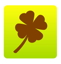 Leaf clover sign brown icon at green vector