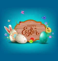 Light blue easter composition with a curly frame vector