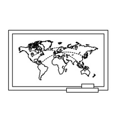 Line global map with locations symbols vector