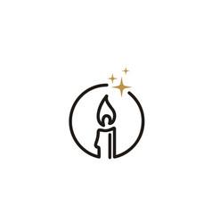 Luxury elegant candle light simple logo vector