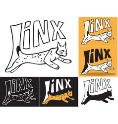 lynx jumping inscription vector image