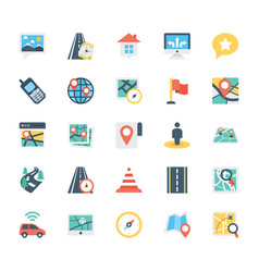Map and navigation colored icons 3 vector