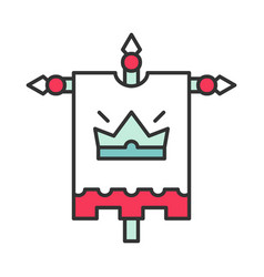 medieval king flag color icon vector image
