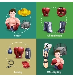 Mma fighting 4 3d icons square vector